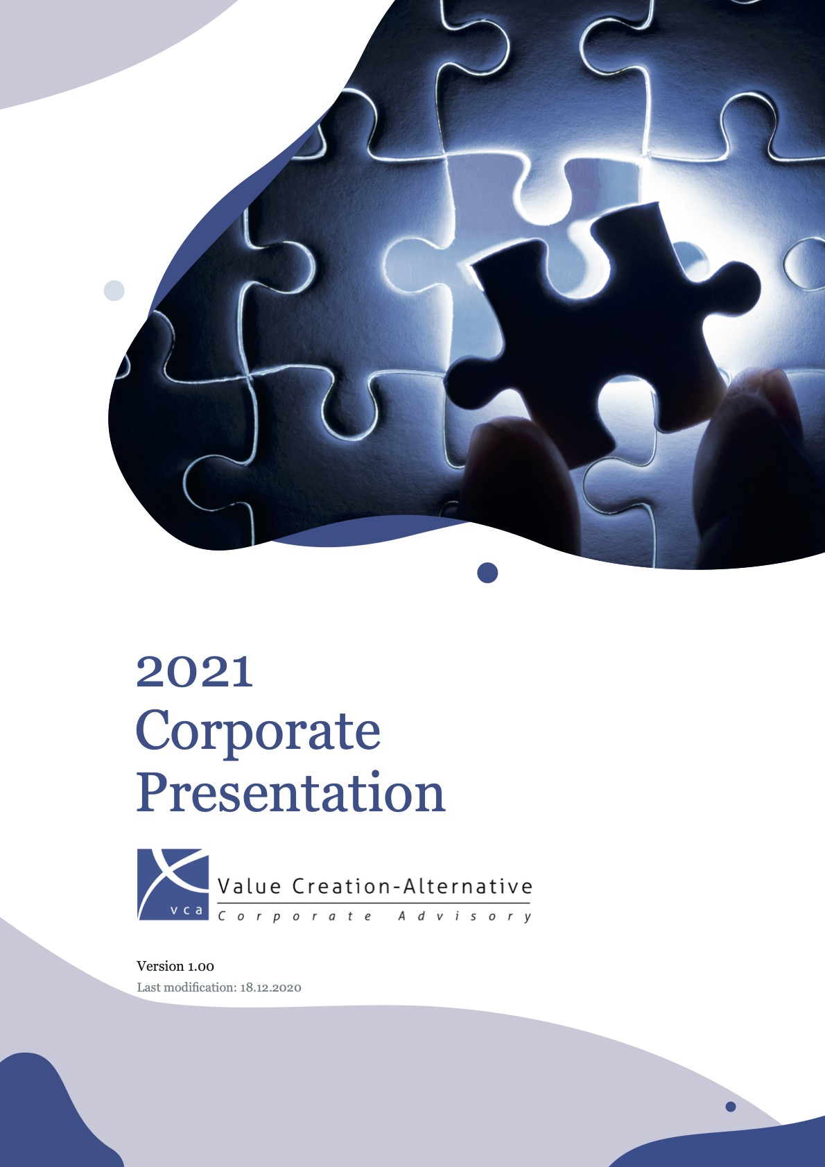 Front page of VC-A Corporate Presentation